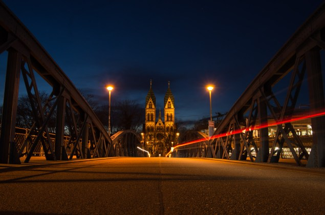 Blue Bridge and Herz-Jesu-Church in Freiburg friday night.