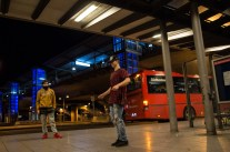 Friday night dance battle at the Freiburg coach station.