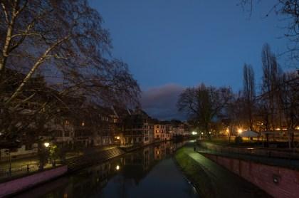 La petite France in Strasbourg at night.