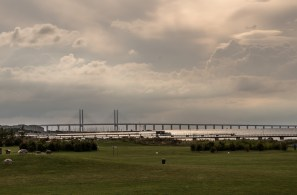 A leaden sky covers the Oresund bridge connectin, Sweden and Denmark via the Baltic Sea