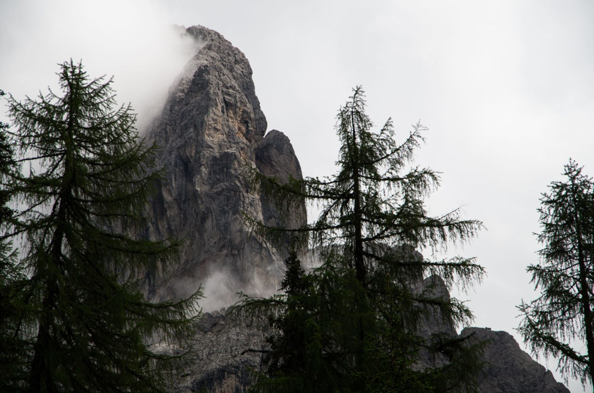 mist- enshrined mountain cliff in the Austrian Alps close to Lienz