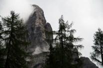 mist- enshrined mountain cliff in the Austrian Alps close to Lienz