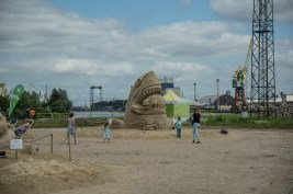 Sand sculpture in the harbour of Stettin