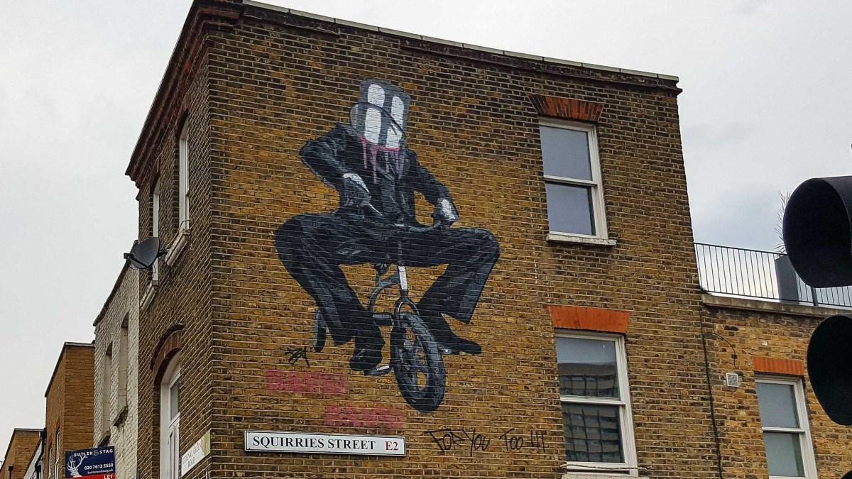 Mural by David David on Suqirries street in London's Eastend