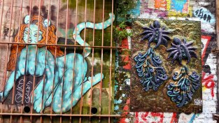 street art: catlady and a three-dimension purple octopus-thingy in london's Eastend