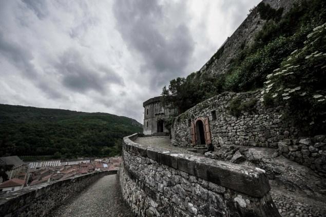 Menacing cloudscape over the Foix castle barbican