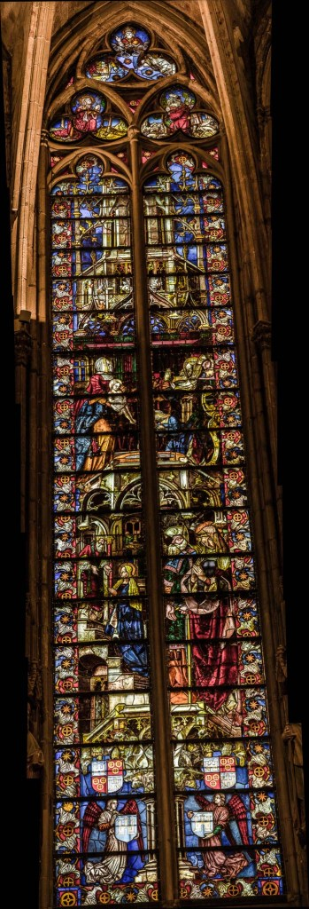 Stained glass window in the Carcassonne cathedral