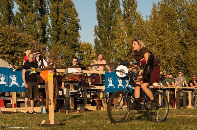 Berlin Pedal Battle women cyclist jousting
