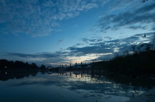 sunset, lake, reflection, clouds