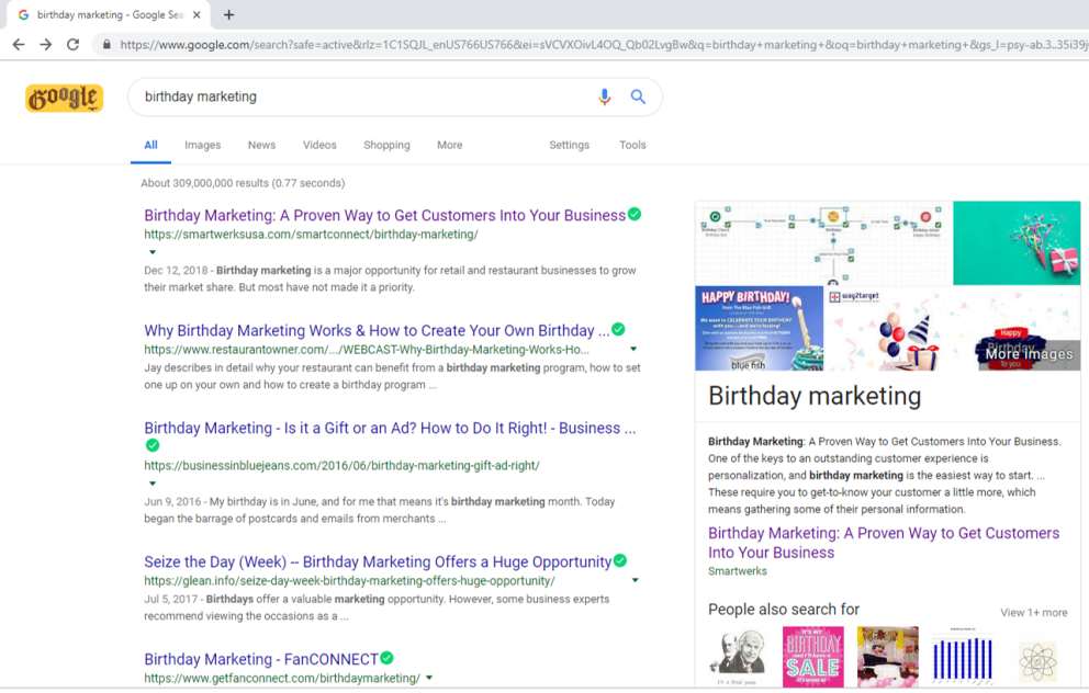 Blog post at top of page for SERP with a snippet