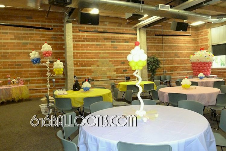 Baby shower cupcake balloons by 616Balloons.com Grand Rapids, Michigan. Specializing in high end balloon art & decor for the best corporate or private parties and events in West Michigan.