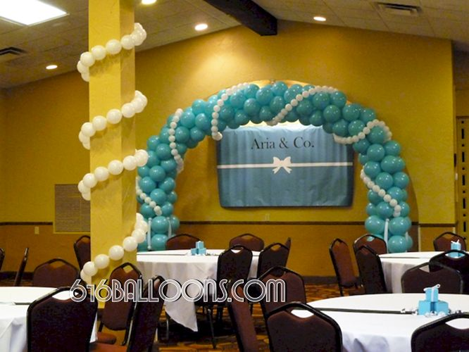 Balloon arch with pearls for Tiffany theme baby shower by 616Balloons.com Grand Rapids, Michigan. Specializing in high end balloon art & decor for the best corporate or private parties and events in West Michigan.