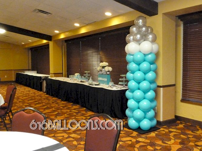 Balloon baby bottle for Tiffany theme baby shower by 616Balloons.com Grand Rapids, Michigan. Specializing in high end balloon art & decor for the best corporate or private parties and events in West Michigan.