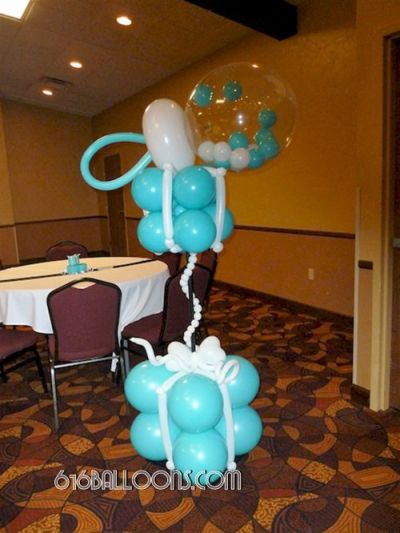 Balloon baby rattle and gift box column for Tiffany theme baby shower by 616Balloons.com Grand Rapids, Michigan. Specializing in high end balloon art & decor for the best corporate or private parties and events in West Michigan.