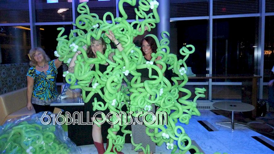 Gratitude Growing charity event vines & flower balloons at JW Marriott. 616 Balloons Grand Rapids, Mi. Premium balloon art & decor. Corporate events, private parties..