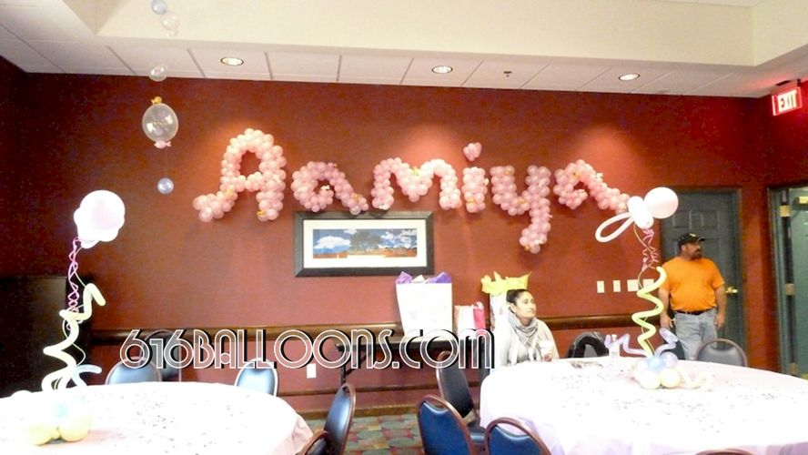 Baby name in balloons by 616Balloons.com Grand Rapids, Michigan. Specializing in high end balloon art & decor for the best corporate or private parties and events in West Michigan.