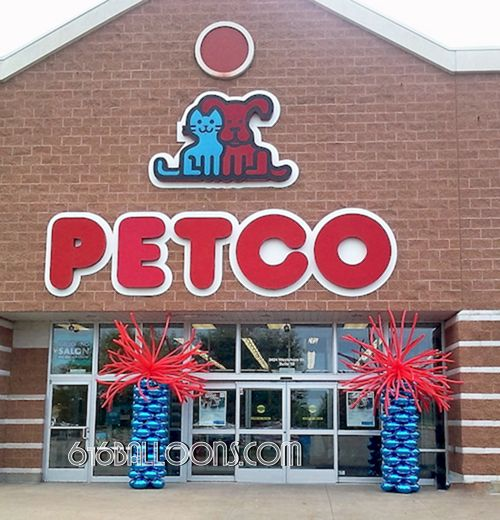 Firework balloon columns at PetCo grand opening by 616Balloons.com Grand Rapids, Mi. Premium balloon art & decor. Corporate events, private parties..