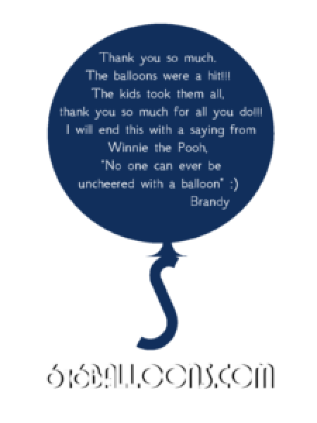 Brandy's balloon decor testimonial and nice comment