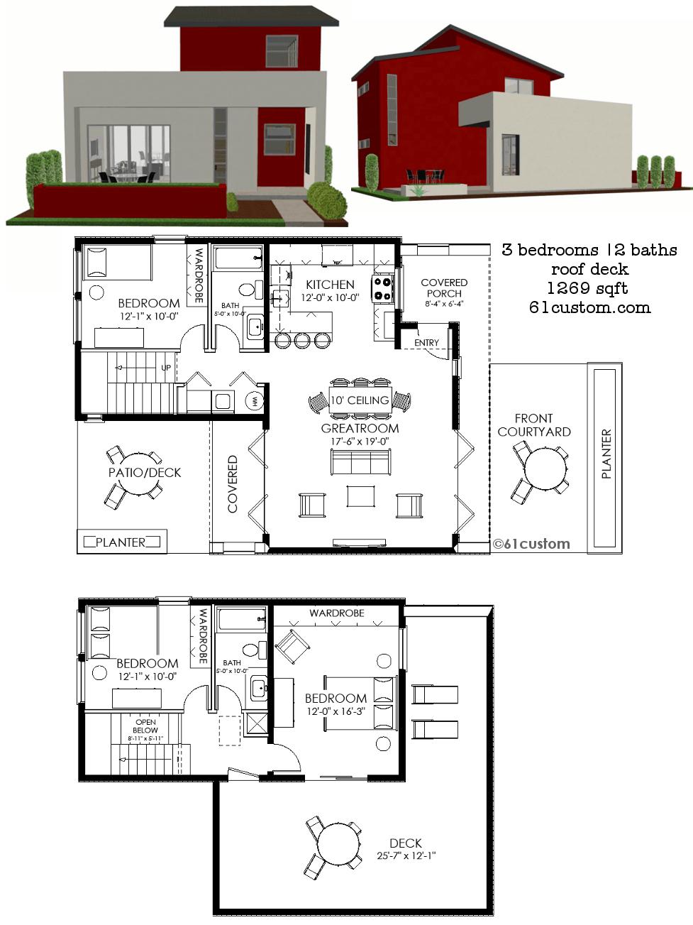 Contemporary Small House Plan 61custom Contemporary Modern House Plans