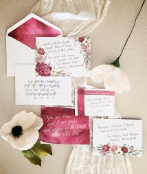blush, burgundy, wedding, wedding invitation, wedding invite, invitation, invite, watercolor, handpainted, floral, flowers, calligraphy, modern, simple, affordable, affordable wedding invitation, romantic, romantic wedding invitation, invitation suite, flat lay, invitation styling, paper flowers