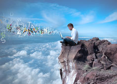 Work anywhere' – but you'd better be working 24/7! Working person on cliff via shutterstock.com