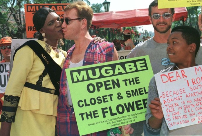 South African gay and lesbian activists protesting against Zimbabwe's Robert Mugabe on one of his visits to South Africa. Reuters