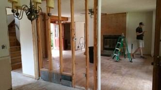 Drywall removed at Dining wall