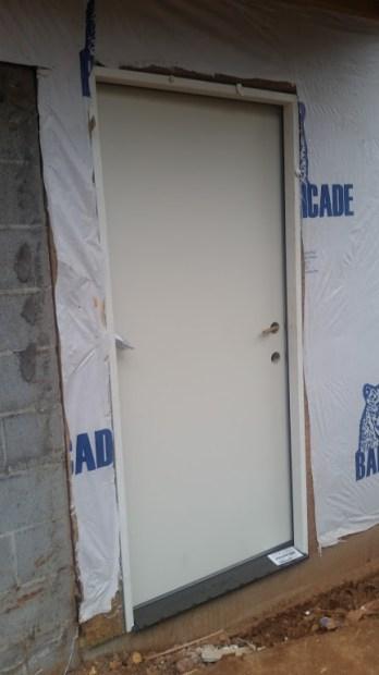 Temporary construction door to Garden Room