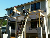 Setting the first two gable rafters