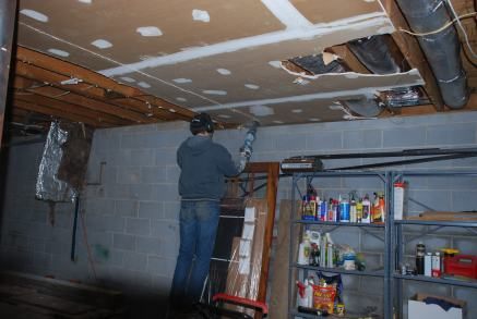 Removing Basement ceiling drywall