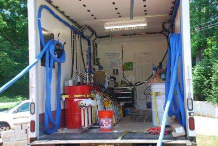 Spray-foam insulation truck set-up