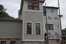 Back stair wall - siding all in up to band