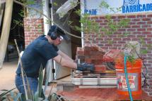 Final day of brick cutting for chimney