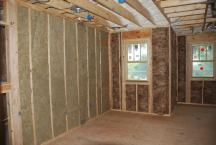 Loft with sound insulation on left and exterior insulation on right