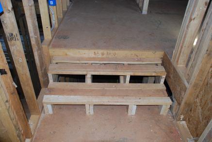 Re-framed steps at back stair