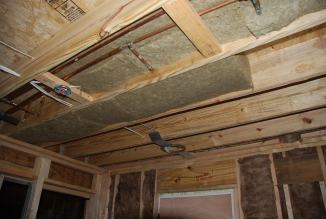 Sound batts at Laundry ceiling under new Bathroom above