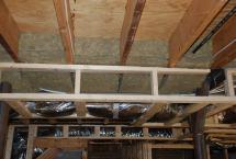 Rock wool fireblock insulation over furring