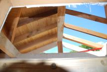 View of rafters and beadboard - looking up from the front door