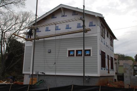 Coming around the end with siding