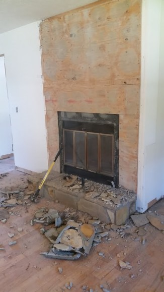 All stone removed from wall
