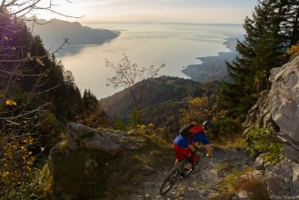 Riding from Rochers de Naye looking over Lake Geneva.