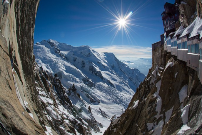 View from the Aiguille du Midi bridge.