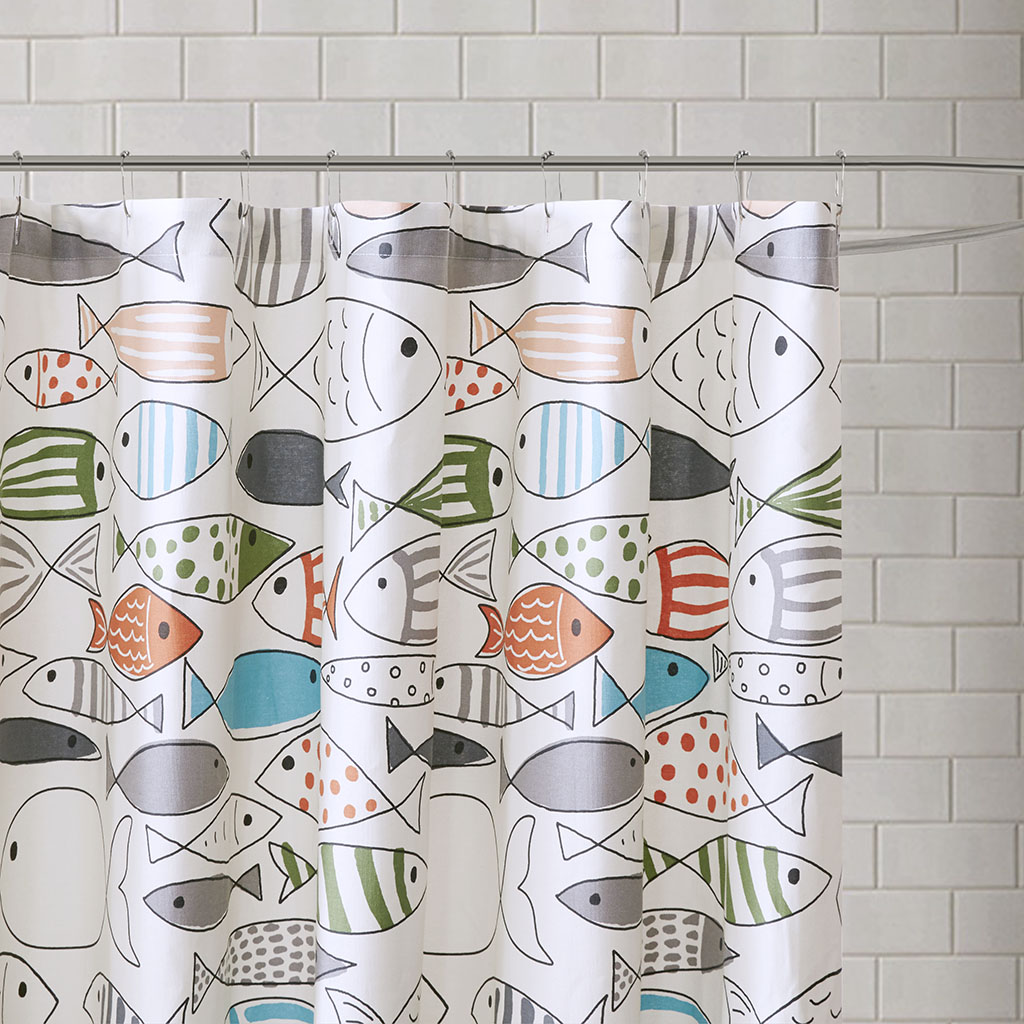 Details About Hipstyle Sardinia Cotton Printed Shower Curtain