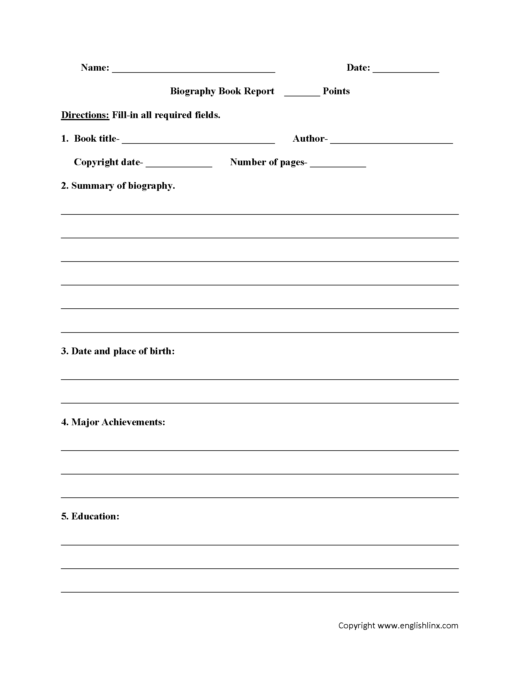Biography Worksheet For 5th Grade