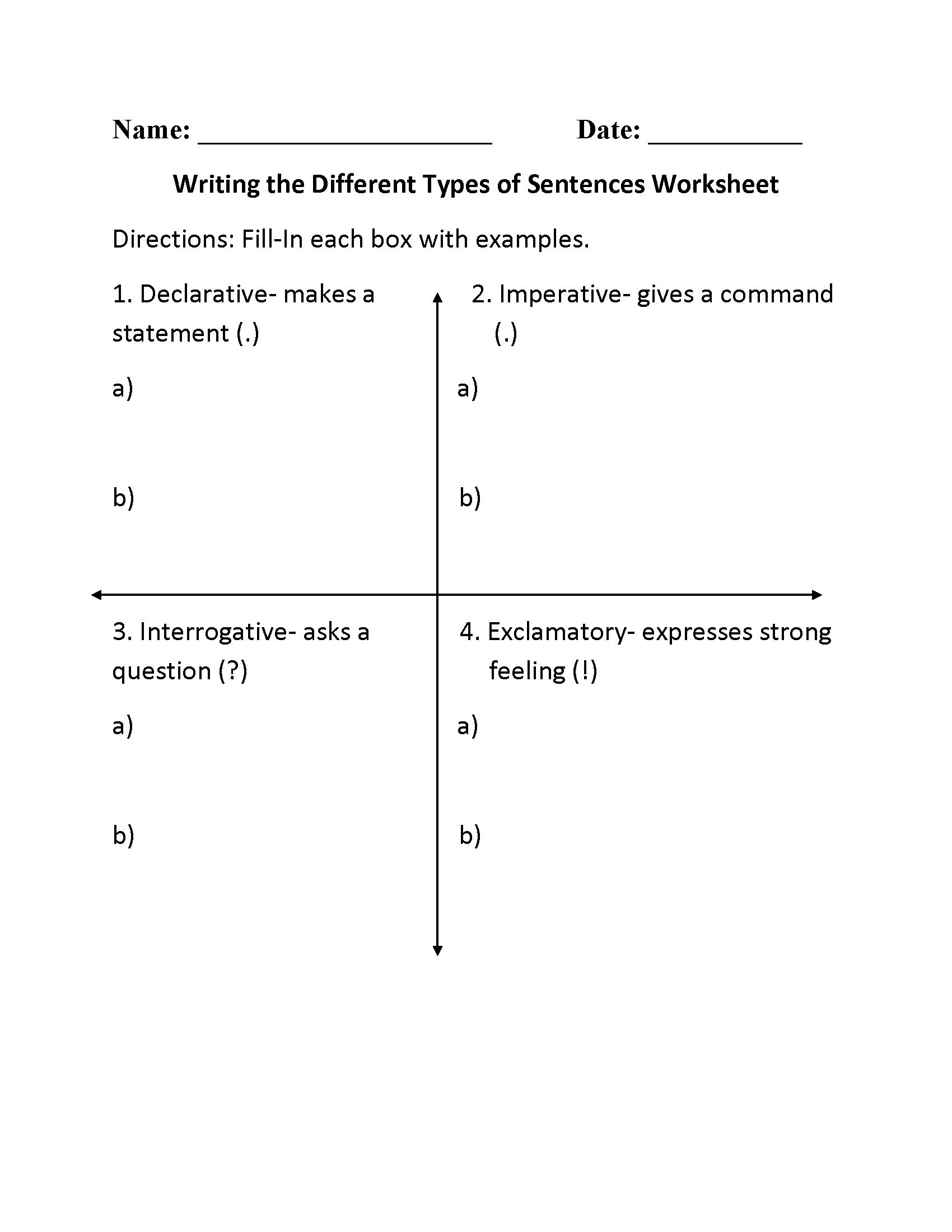 3rd Grade Writing Grammar Worksheets