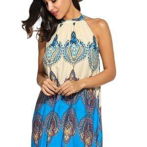 Women's Casual Sleeveless Halter Neck Boho Print Short Dress Sundress. I added a belt to add... , Sun, 23 Aug  2020 19:12:46 +0100