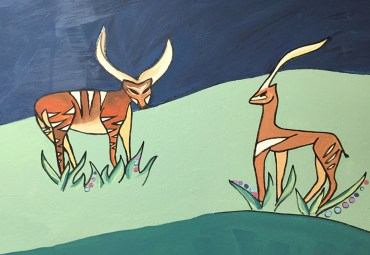 Gazelles and Bongos in a Wall Mural - jungle theme with giraffes zebras lions tigers elephants leopards gazelles for children's playroom nurseries or vacation homes art copyright © 2020 Sarah Gilbert Fox