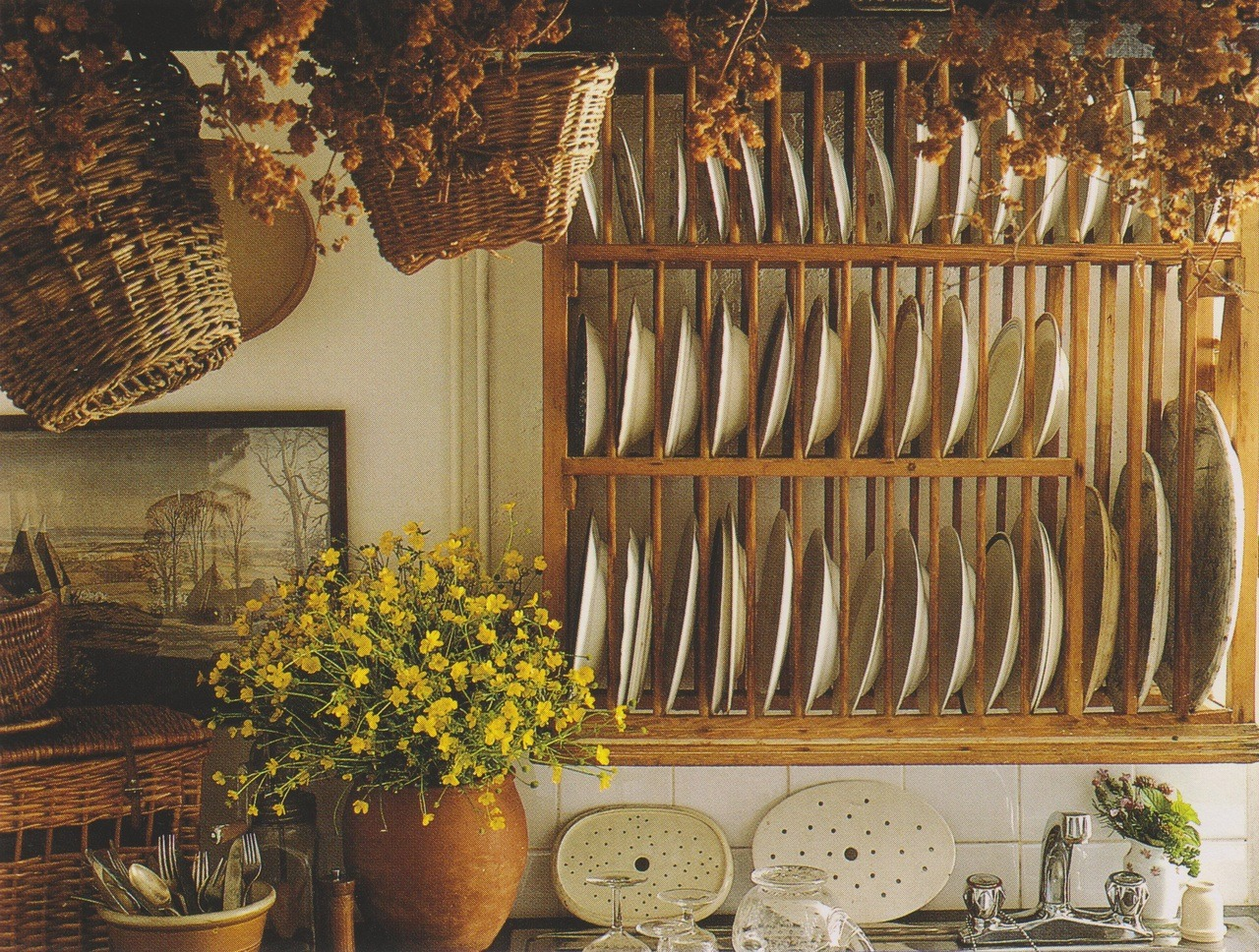 an old pine plate rack is useful for