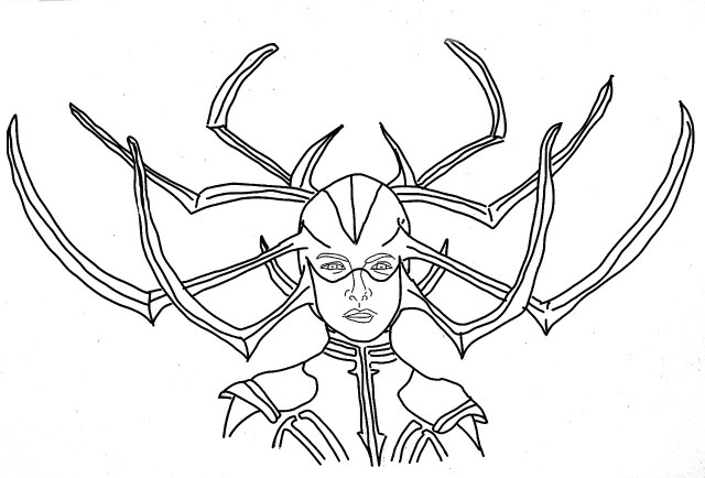 Not Unworthy — Hela Coloring Page Based on the Thor: Ragnarok