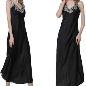 Women's Nightdress Lace Satin Nightgowns Long Chemise Sleepwear. Sexy low v-neck with lace detail... , Tue, 02  Mar 2021 19:14:11 +0000